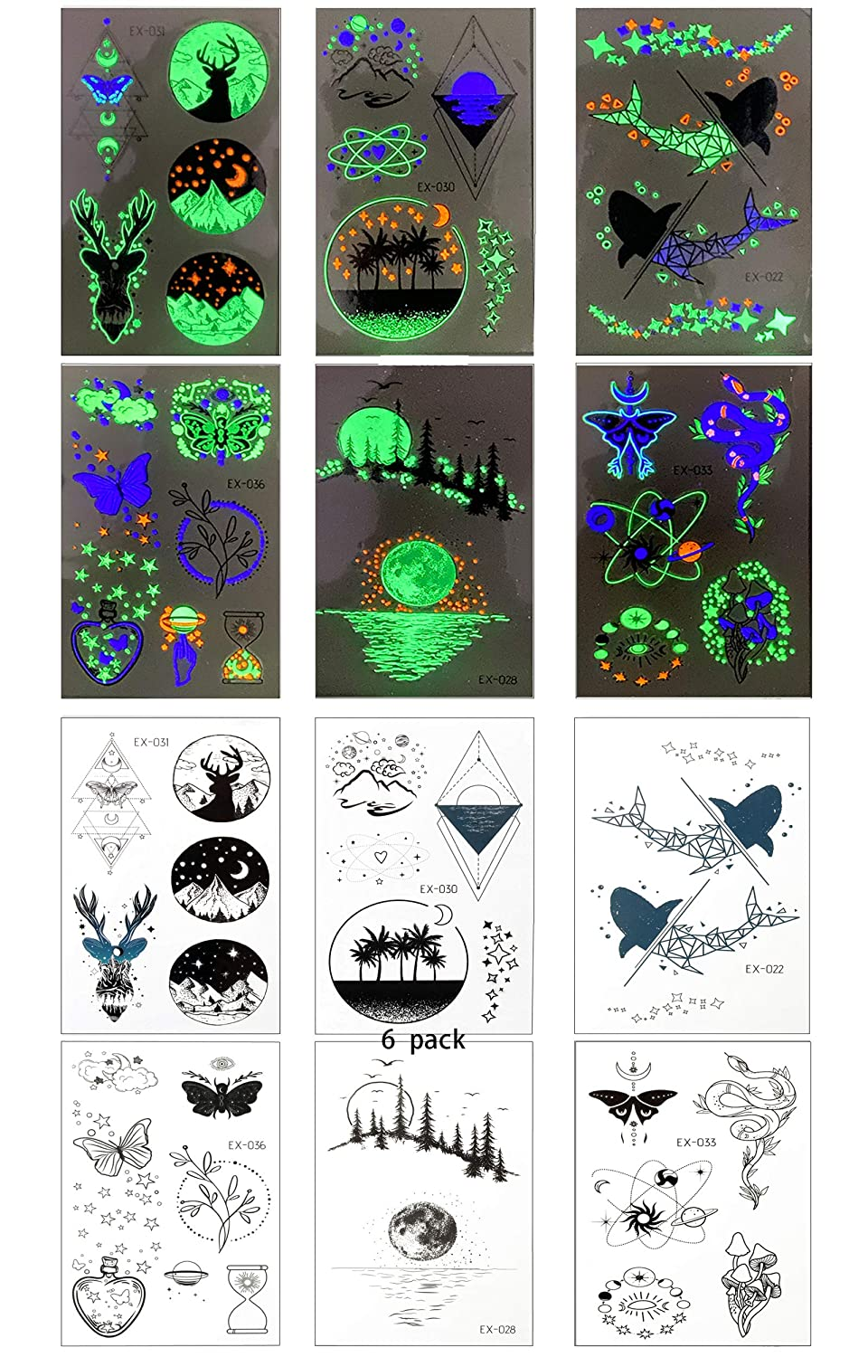 6Sheets colorful green, blue and orange luminous tattoo stickers for men and women, fluorescent tattoo Fake Tattoo for festivals, clubs and party accessories DIY