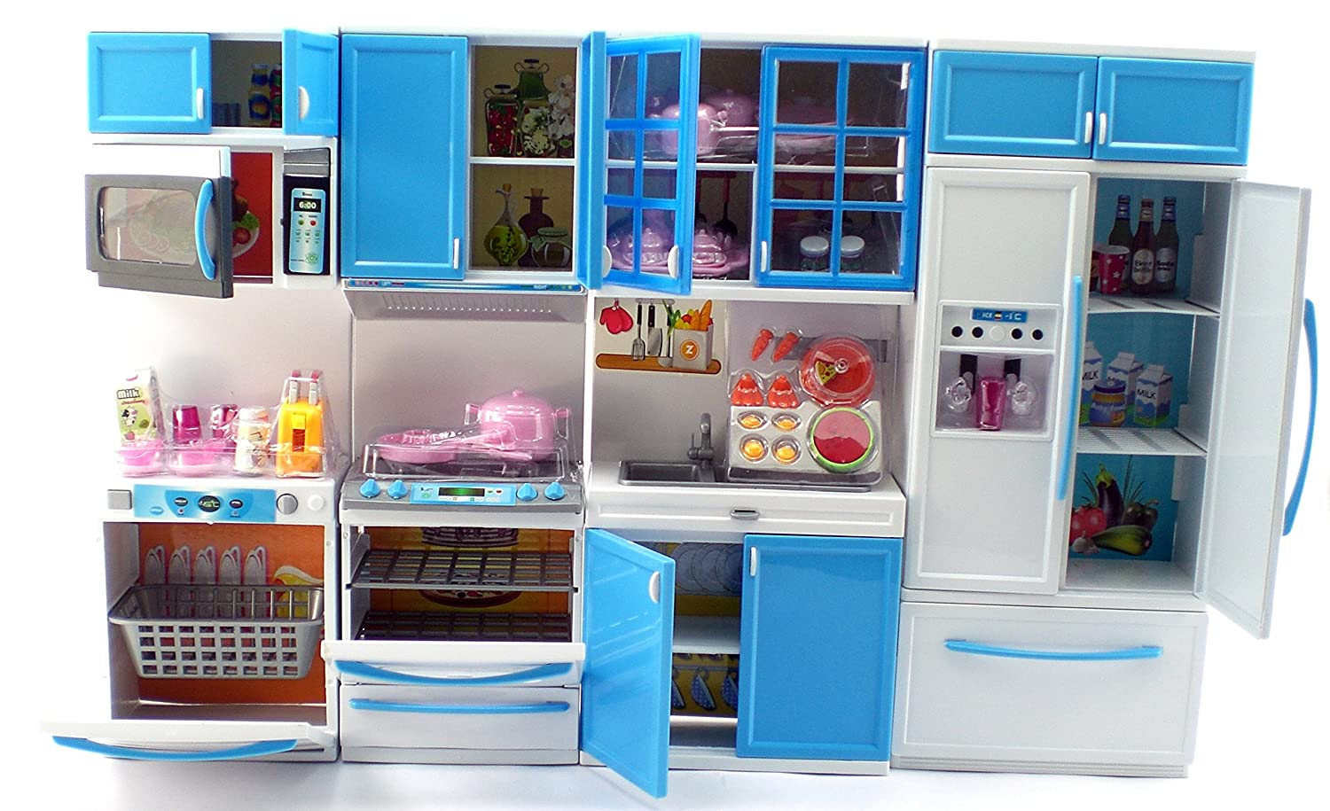 Amazon.com: Blue Deluxe My Modern Barbie Size Kitchen Stove, Fridg ...