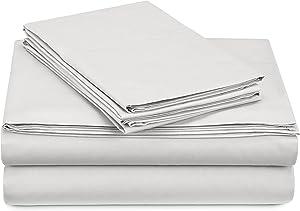 Pinzon 300 Thread Count Percale Cotton Sheet Set - Full, White