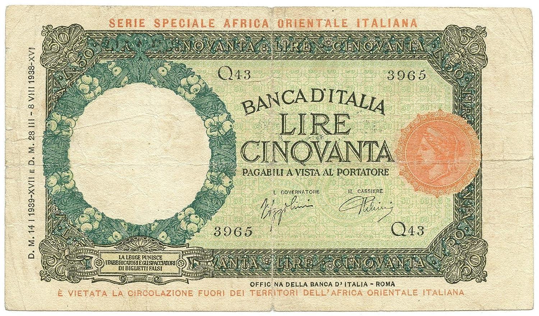 Cartamoneta  50 Lire LUPA CAPITOLINA Africa Orientale Italiana AOI 14 01 1939 Data Rara MB BB