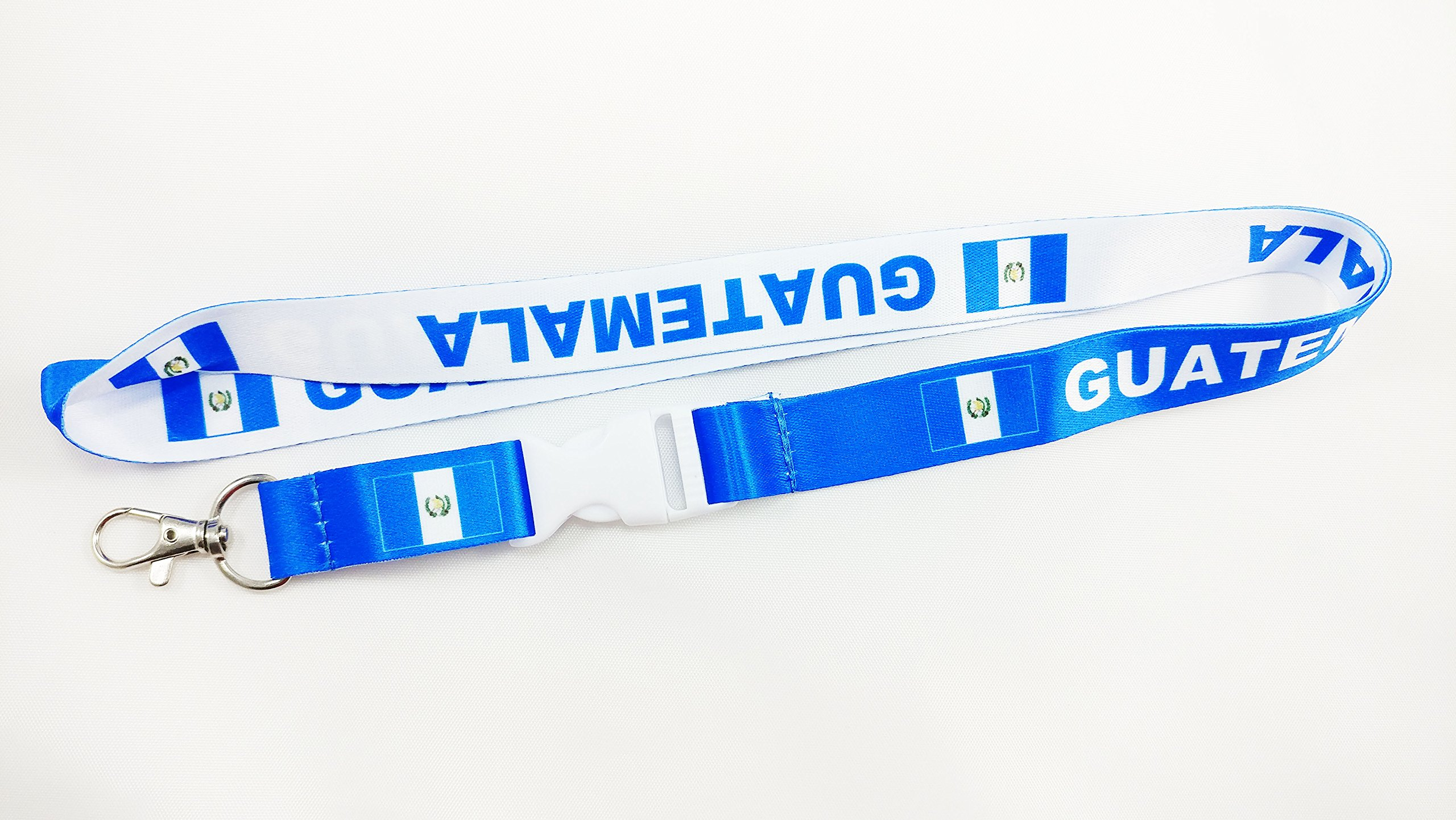 Guatemala flag reversible Lanyard/keychain with clip for keys or id badges. Perfect for school id badges, work badges, car keys, house keys, work keys (50 Lanyards)