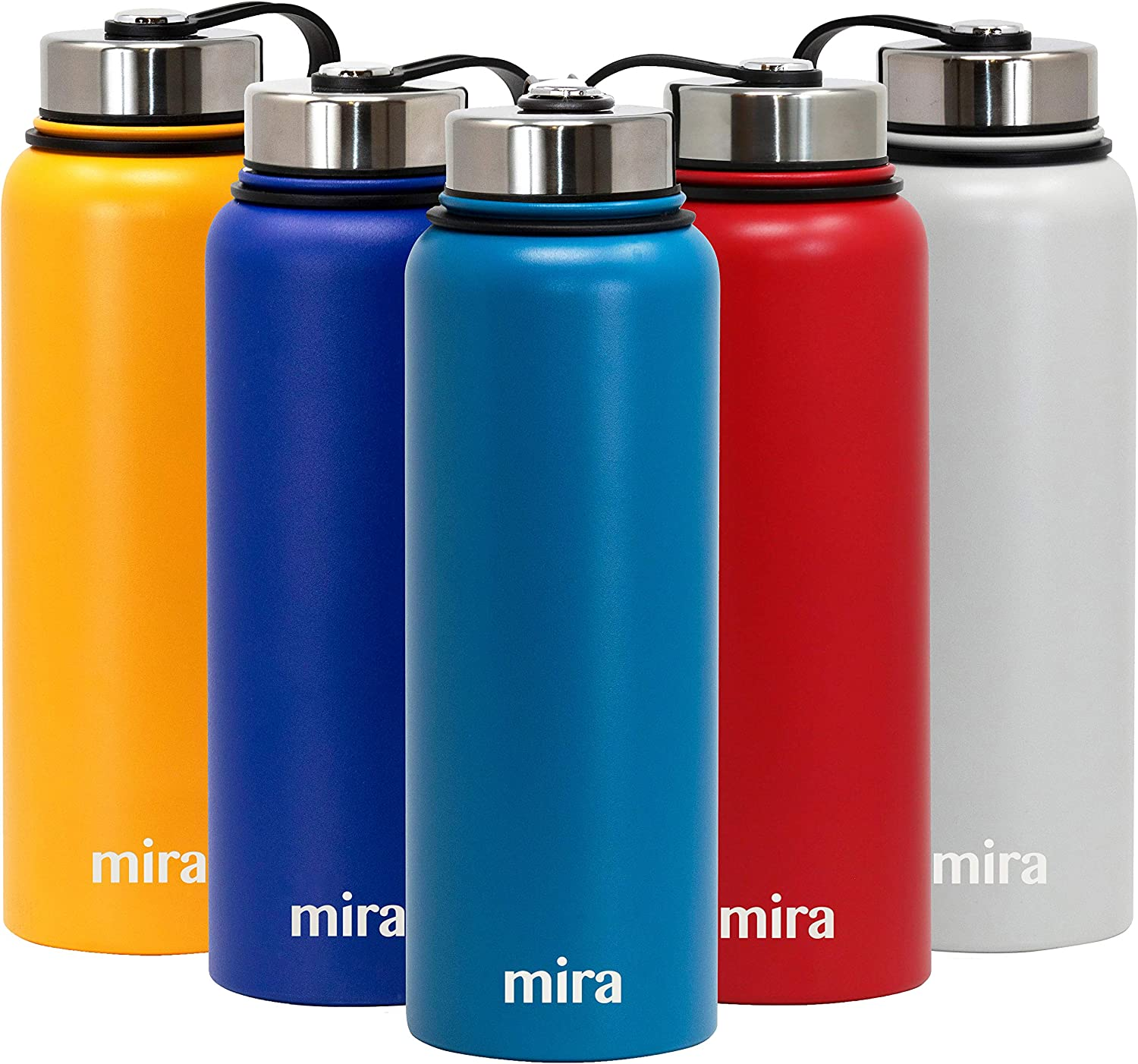MIRA 40 oz Stainless Steel Vacuum Insulated Wide Mouth Water Bottle - Thermos Keeps Cold for 24 hours, Hot for 12 hours - Double Walled Hydro Travel Flask - Hawaiian Blue