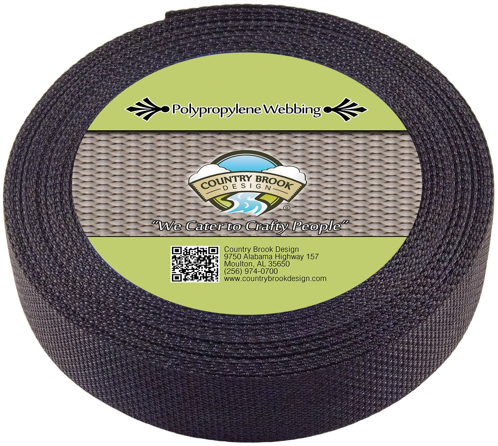 Country Brook Design 1 1/2 Inch Black Polypro Webbing, 700 Yards by Country Brook Design