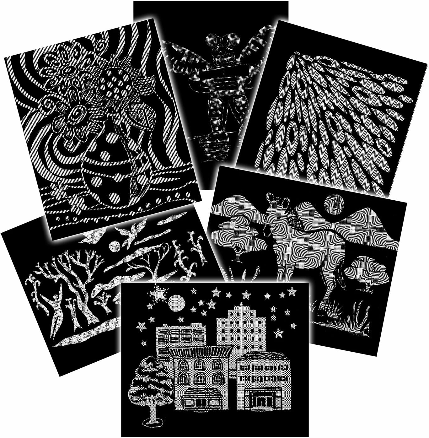 6 Black and White Patterns 60 Sheets Melissa /& Doug Scratch Art Pattern Paper