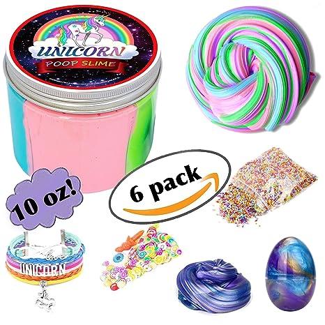 Fluffy Unicorn Poop Slime kit - Unicorn gifts for girls - Soft extra
