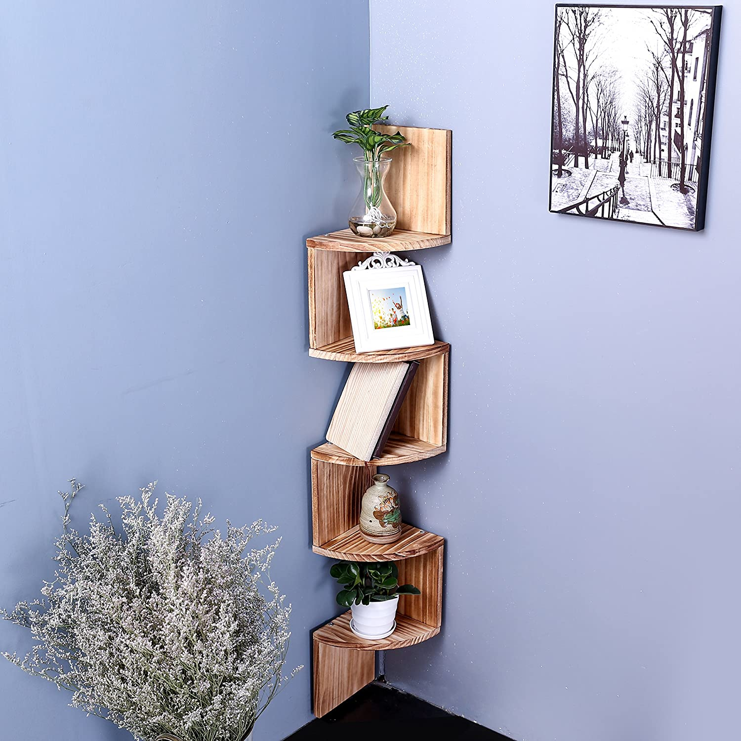 Amazon.com: Wall Mount Wood Corner Shelves, 5 Tier Storage Display ...