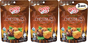 Organic Whole Chestnut-Chestnuts Roasted Peeled, Organic Roasted Chestnuts - Kosher for Passover - 3 Oz Bag (3-Pack, Total of 9 Oz)