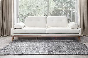 Perla Furniture Shaggy Antarsite 5x7 Area, Rug, 5' X 7', Ivory