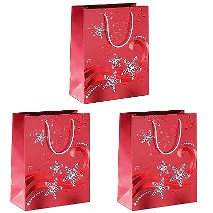 Sigel GT107 Bolsa para regalos de Navidad Premium, grande, Wave, con estampación en caliente roja y blanca, papel, 210 g, 260x330x125 mm, 3 unds.