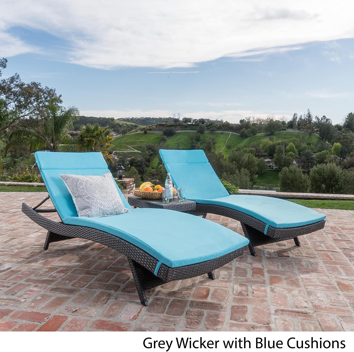 Savana 3Pc Outdoor Wicker Lounge with Water Resistant Cushions Coffee Table Grey BrightBlue