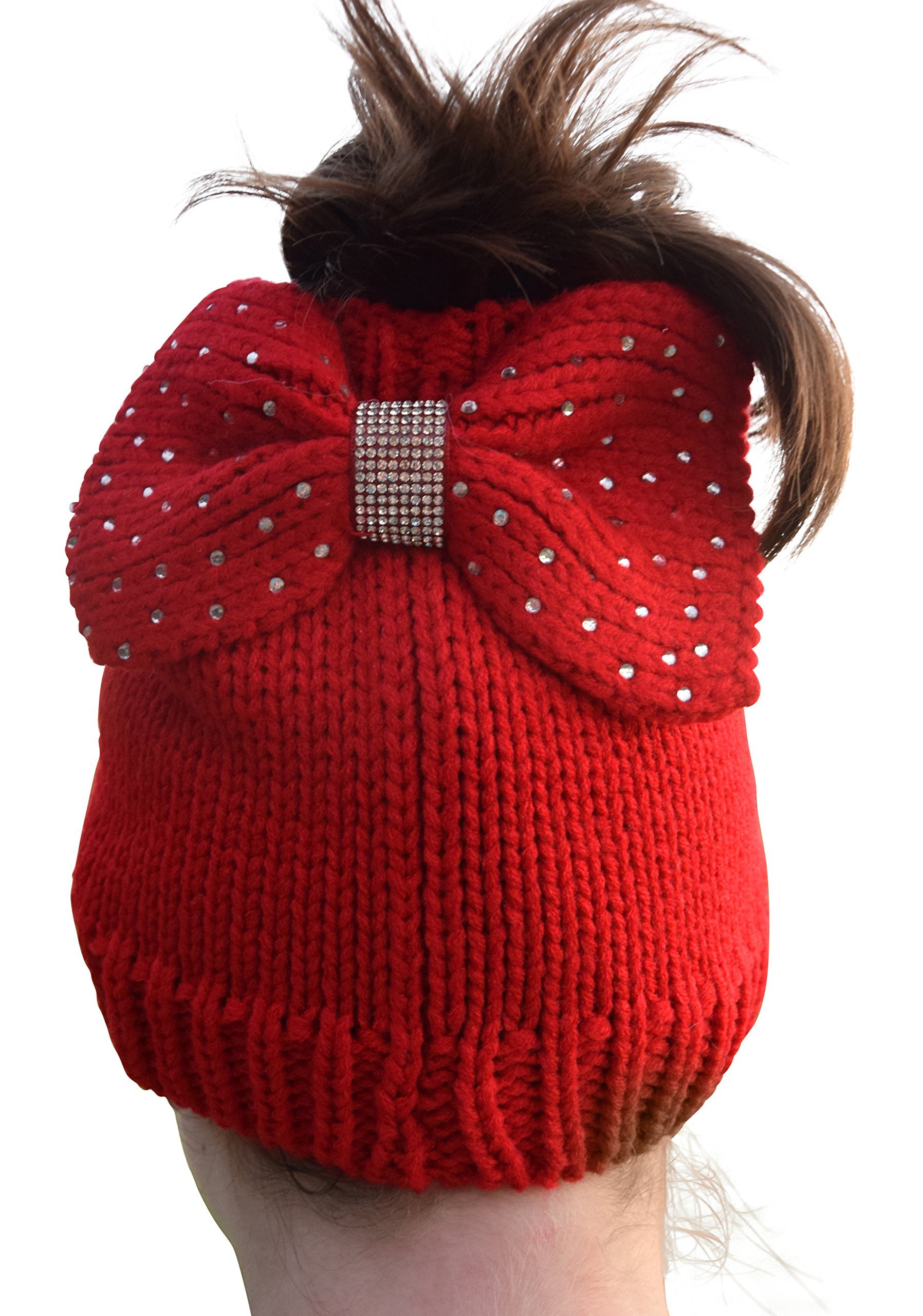 Womens Crochet Messy Bun Beanie Slouchy Style With Hole For Ponytail Hat With Rhinestone Studded Bow For Extra Cute Look (Red)
