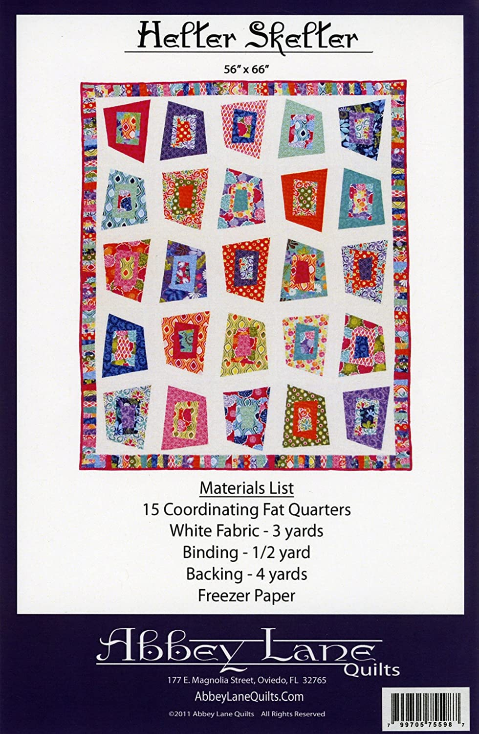 Helter Skelter Quilt Pattern by Abbey Lane Quilts #153 56 x 66