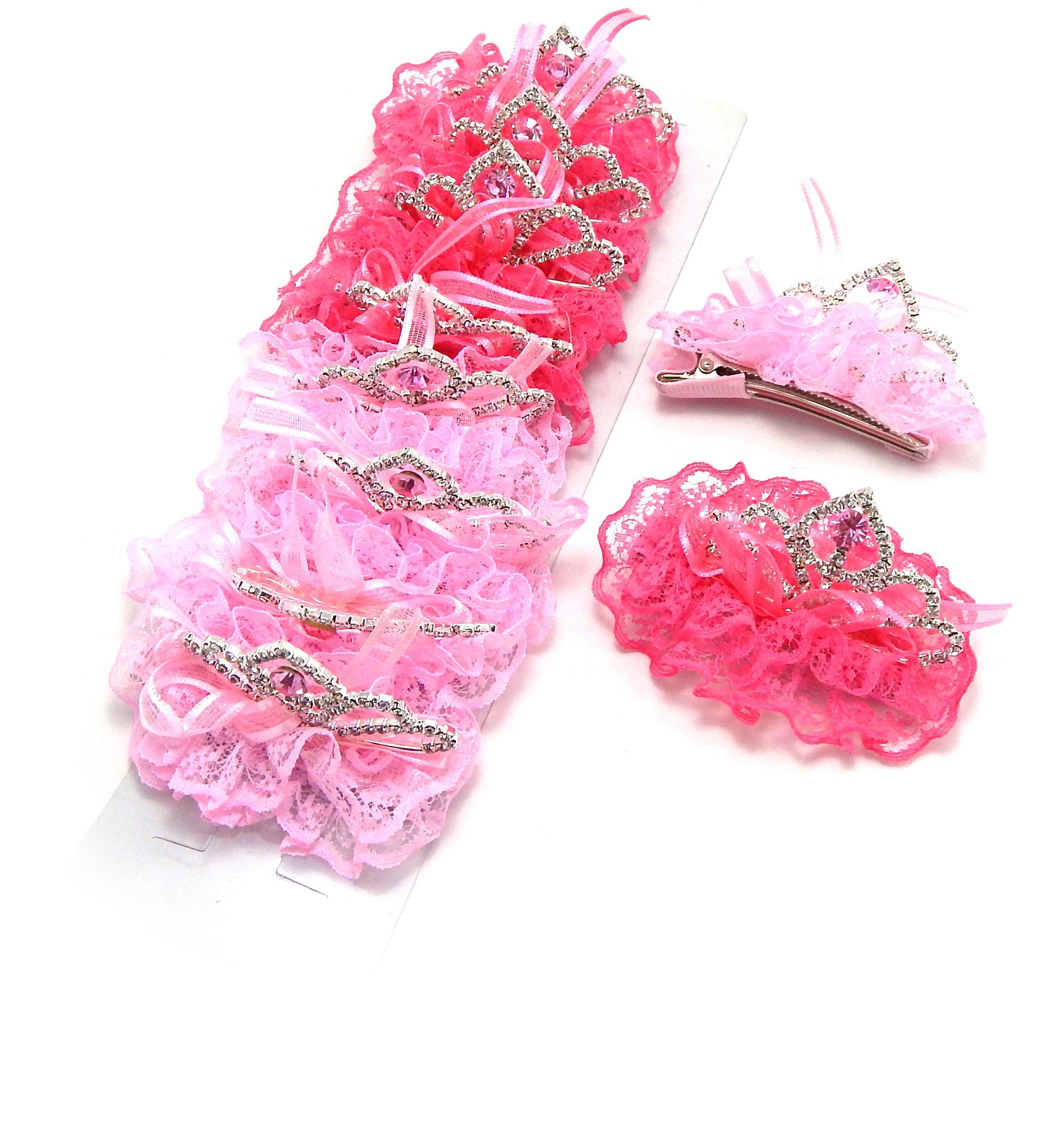 SET OF 10 Baby & Toddler Girl Lace Princess Tiara Alligator Hair Clip with Rhinestones