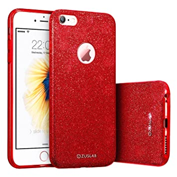 iPhone 6/6s Funda, ZUSLAB Lujo Elegante y Brillante Fina TPU Silicona Parachoques PC Protección Cubrir Suave Flexible Carcasa para Apple iPhone 6/6s ...
