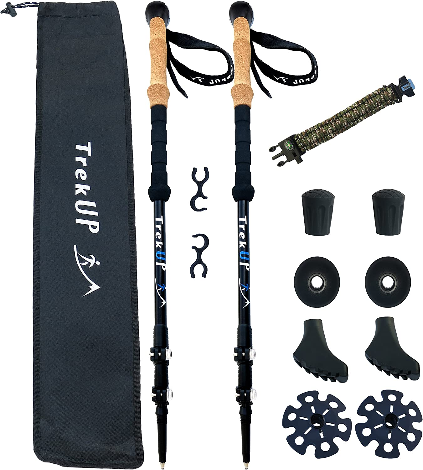 TrekUP Trekking Sticks for Hiking. Best Nordic Walking Poles for Women and Men, with Comfortable Cork Grips. Adjustable, Ultralight and Sturdy. Quick Lock for Faster Opening and Reliable Handling