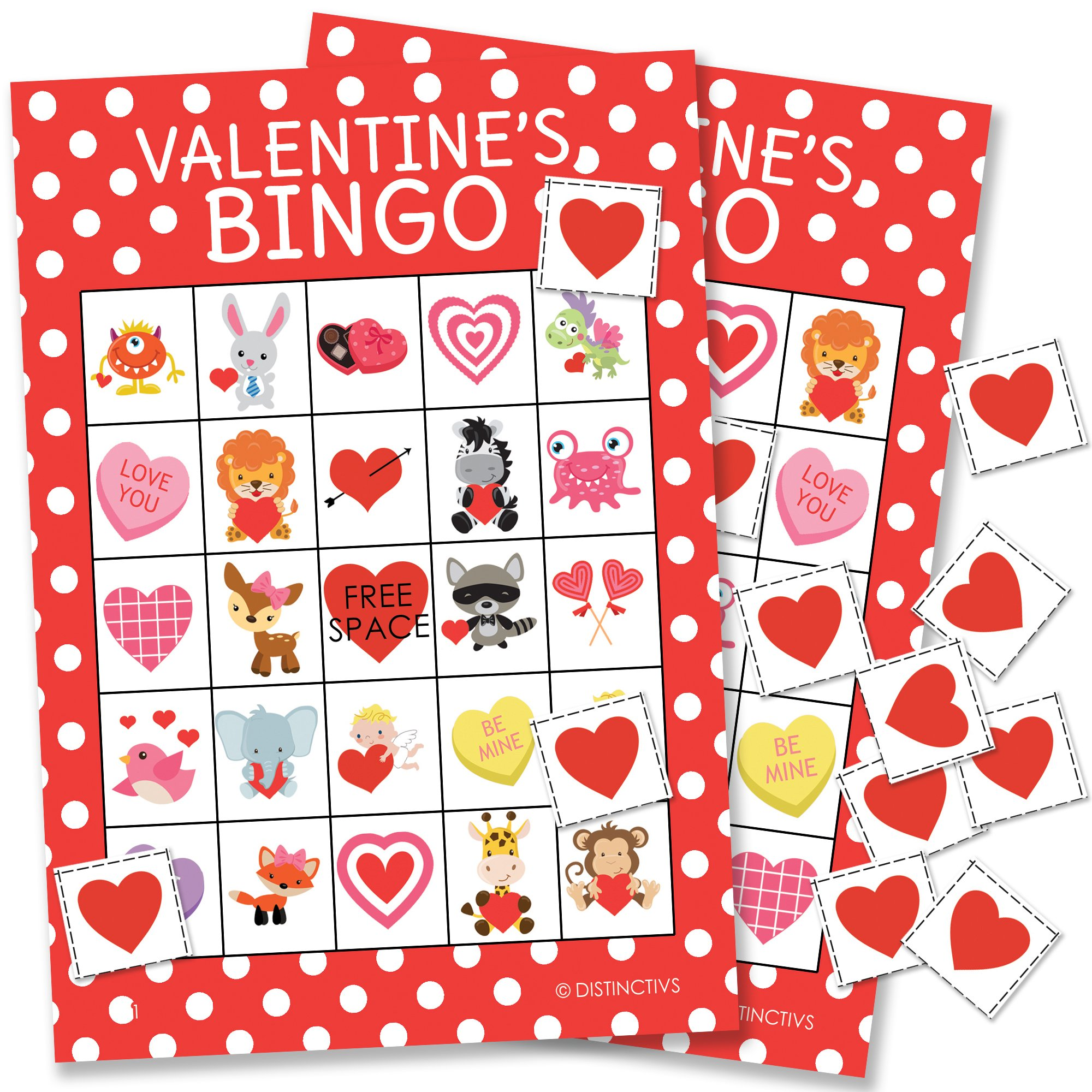 DISTINCTIVS Valentine's Day Bingo Game for Kids - 24 Players