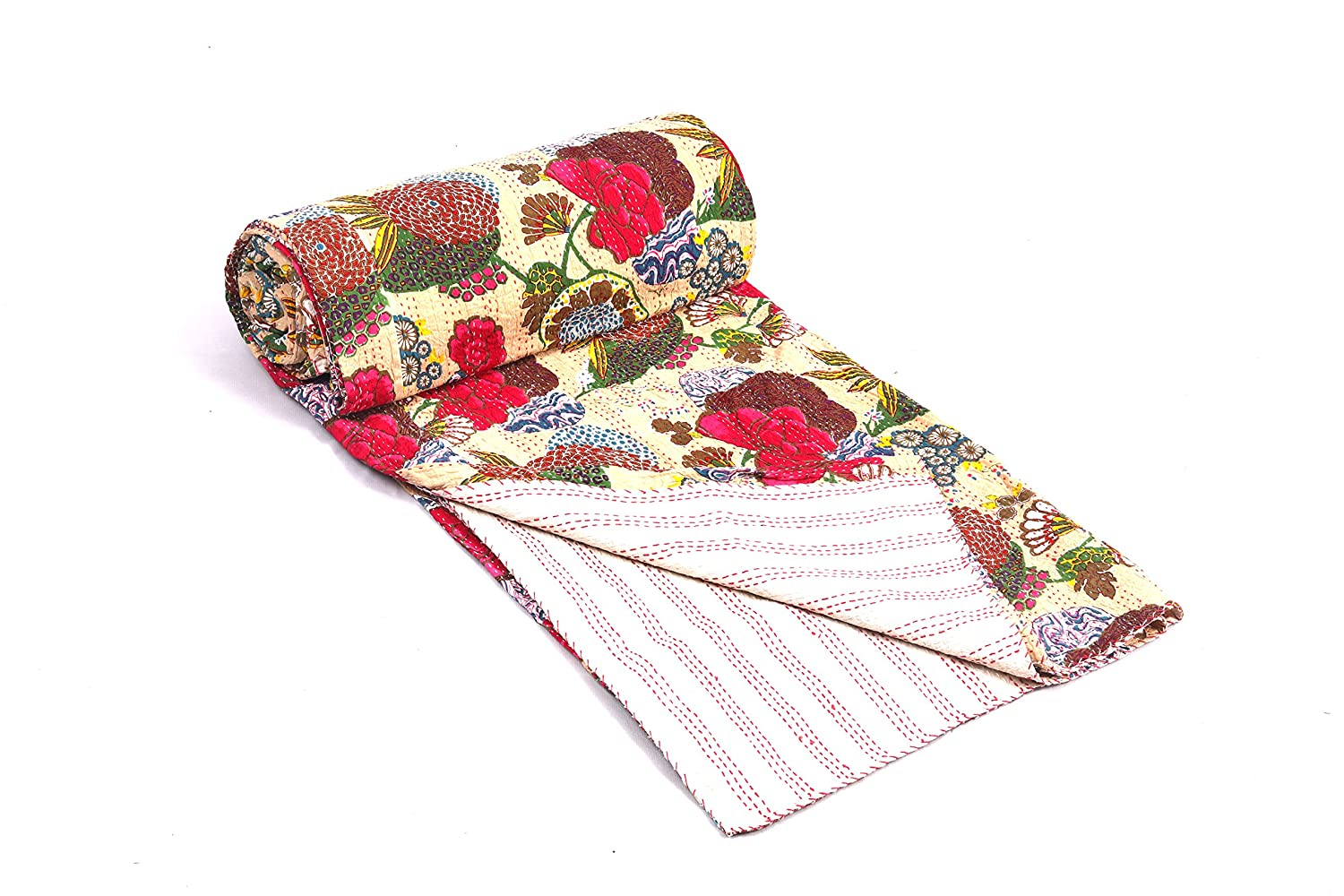 BluSpirits Indian tribal fruit floral print kantha quilts and cushion covers 1, Queen