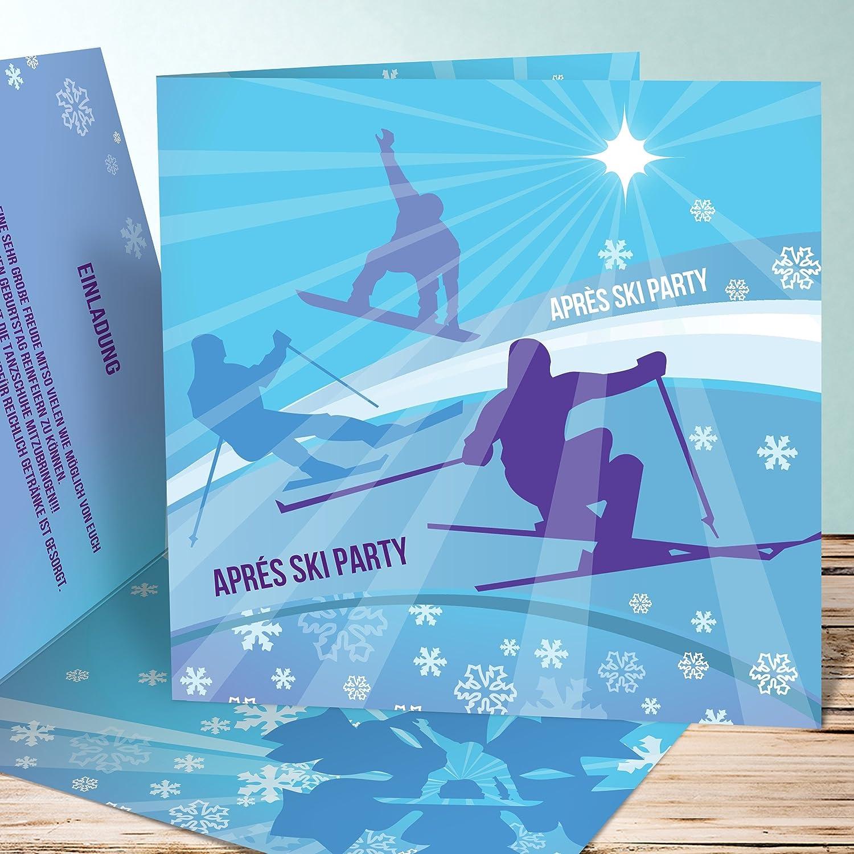 Einladungskarten Zum 40 Geburtstag 5 Stück Apres Ski Party, Puderblau,  Inklusive Umschläge: Amazon.de: Bürobedarf U0026 Schreibwaren