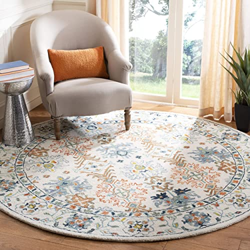 Safavieh Aspen Collection APN310A Ivory and Blue Premium Wool Round Area Rug 7' Diameter