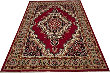 Zia Carpets Most Prefer Design Royal Look & Living Room 90 X 150 cm (3X5 FEET) RED Colour Carpets at amazon