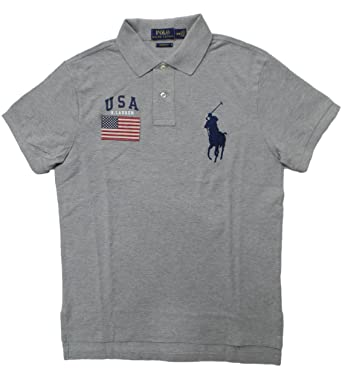 b72e9e69d Image Unavailable. Image not available for. Color: Polo Ralph Lauren Men's  Custom Fit Big Pony USA Flag Polo Shirt ...