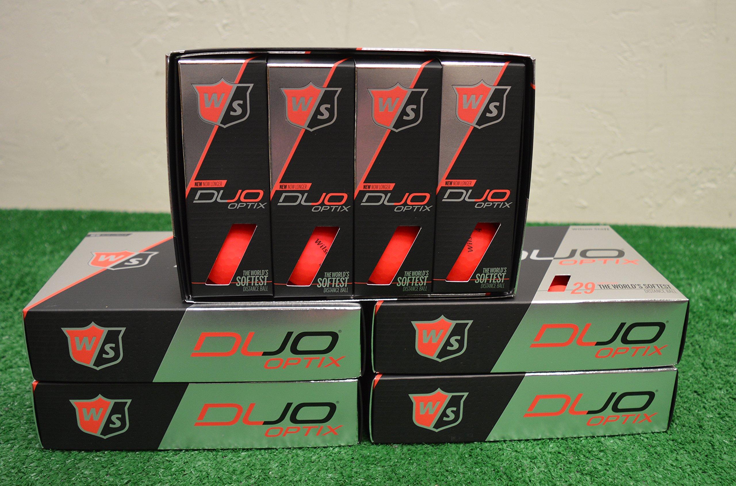 5 Dozen Wilson Staff Duo Optix - Matte Red Golf Balls