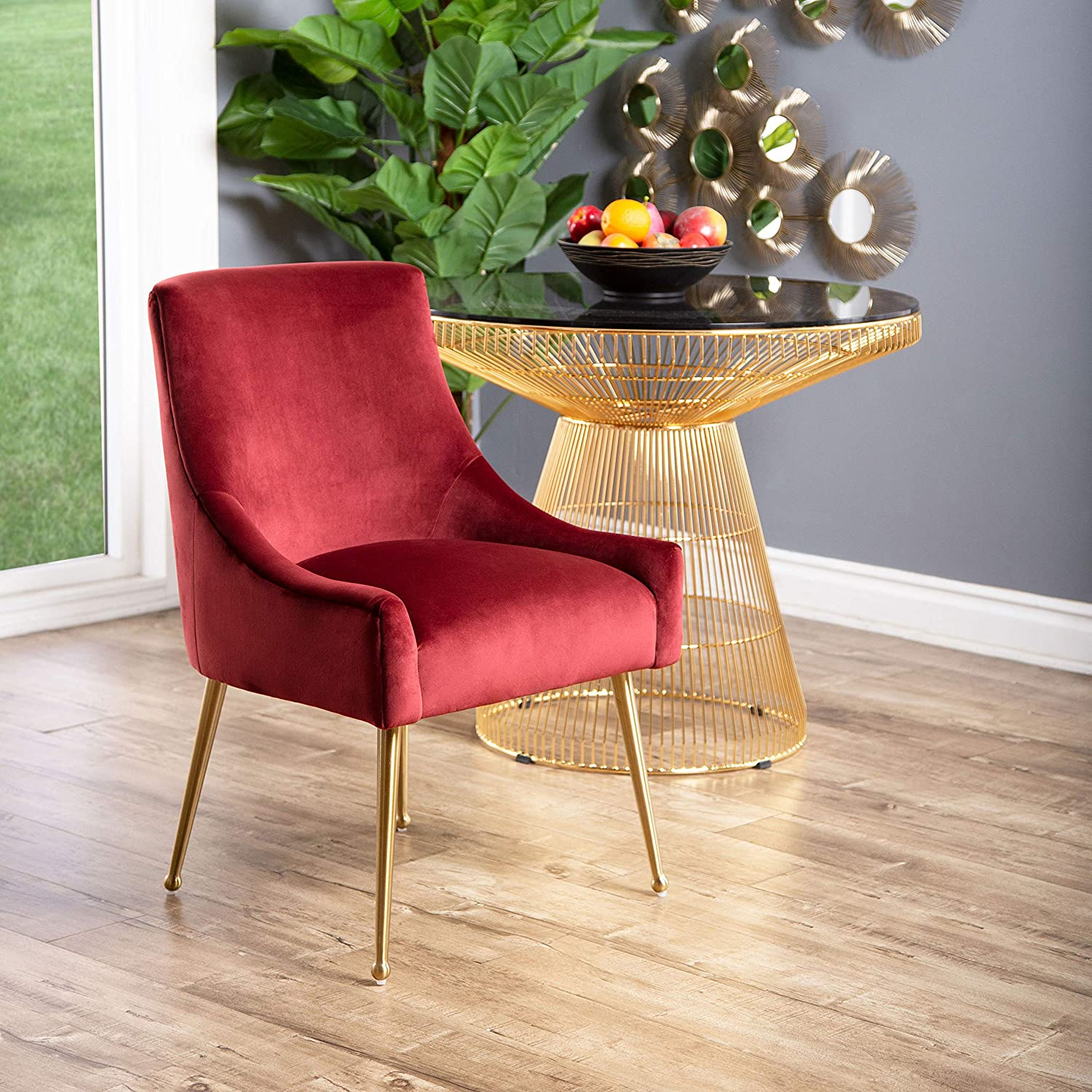 Amazon Com Abbyson Living Velvet Upholstered Dining Chair With Gold Finished Handle Burgundy Chairs