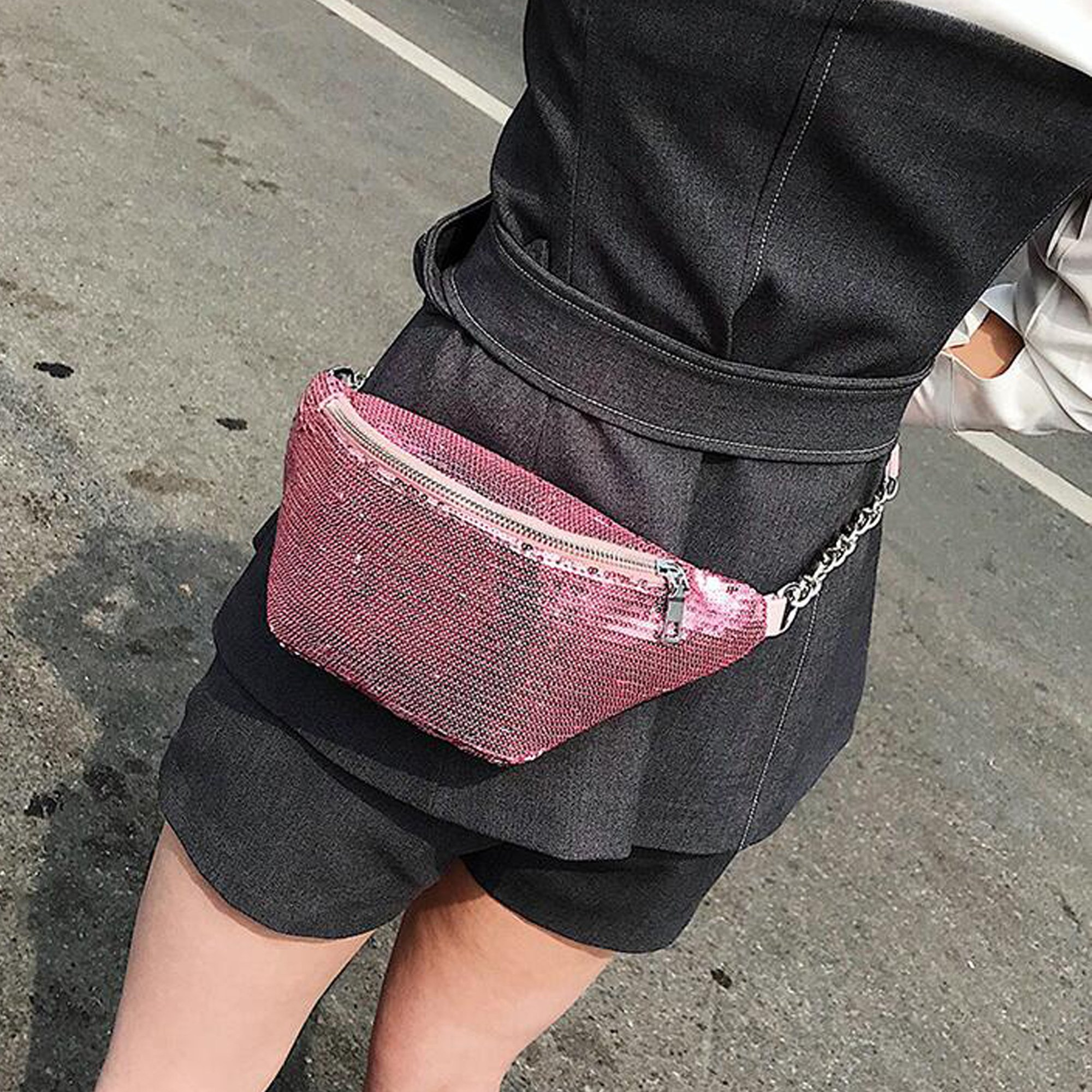 Womens Sequined Waist Fanny Pack Belt Pouch Sling Chest Bag Crossbody Hip Purse (pink) by JIANBAO (Image #2)