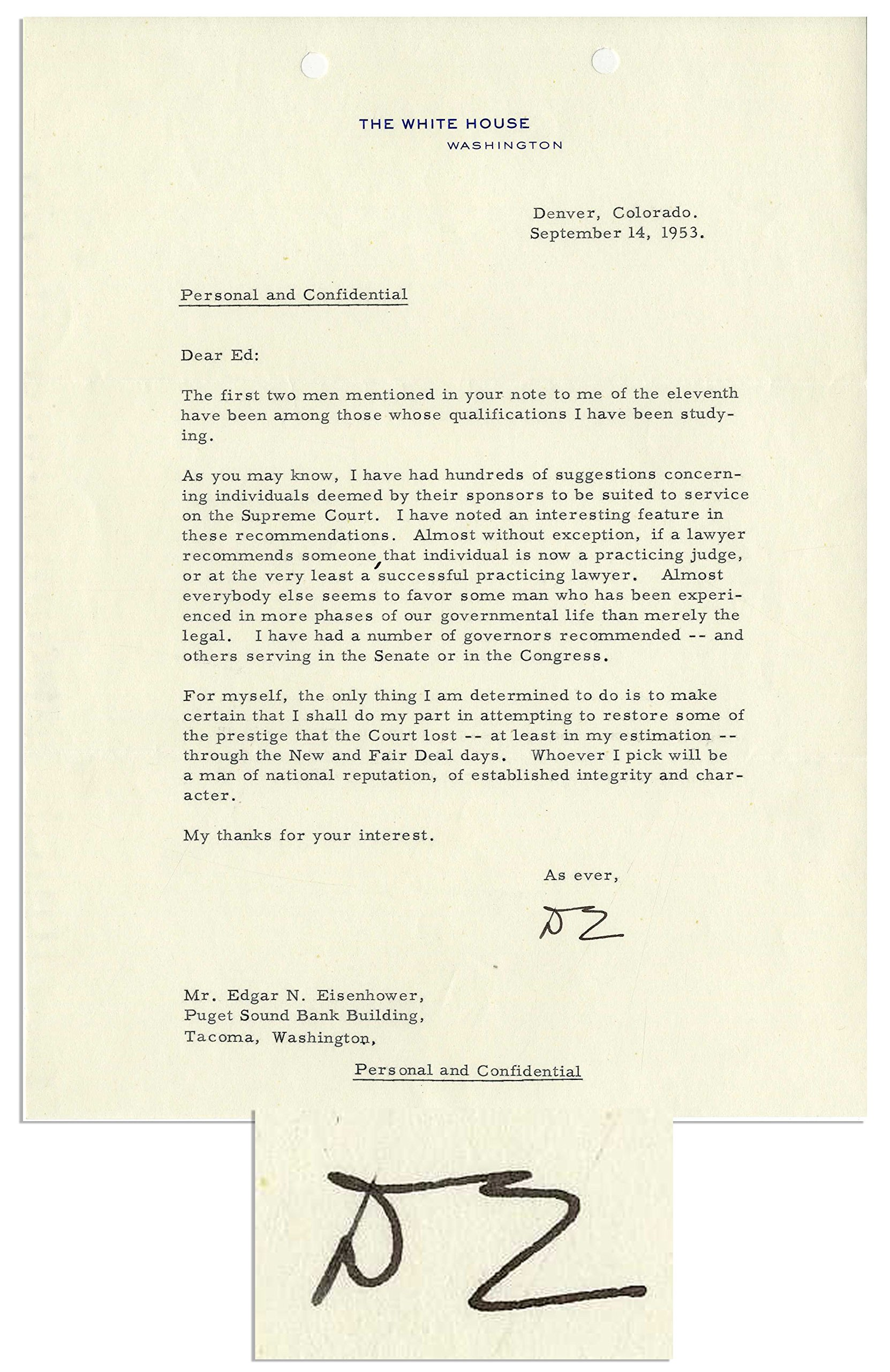"Dwight Eisenhower 1953 Letter Signed Regarding His Supreme Court Appointment ""…I shall…restore some of the prestige that the Court lost…through the New Deal and Fair Deal…"""