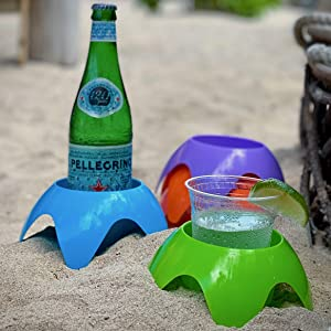 Beach Drink Holders, Picnic Supplies, Sand Cup Holders Set of 5, Superior to a Spiker Sand Coasters for Drinks Holder/Stackable, Compact Design Takes Up Less Space in Your Bag, Unique Beach Gifts