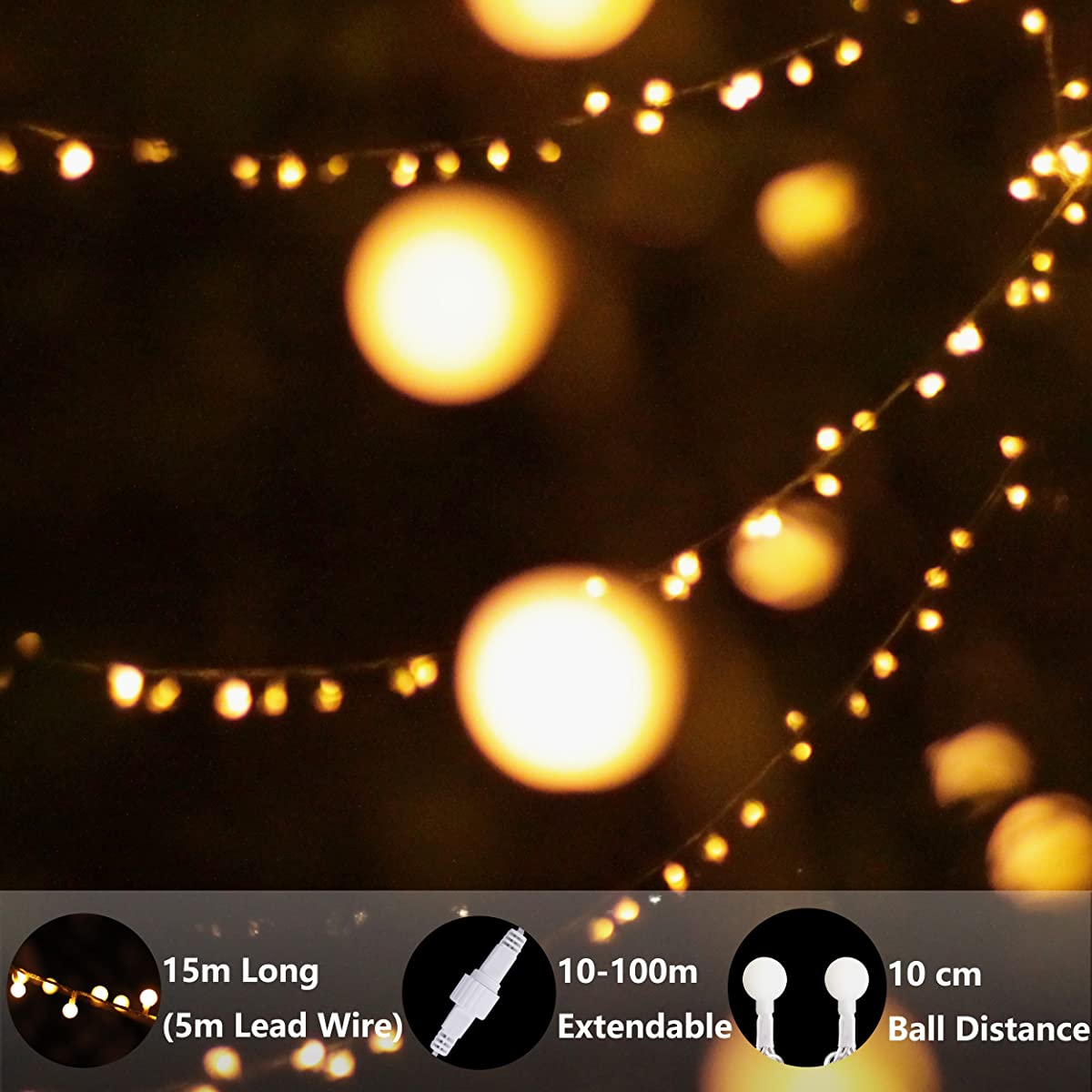 LED String Lights, by myCozyLite, Plug in String Lights, 49Ft 100 LED Warm White Globe lights with Timer, Waterproof, Perfect for Indoor and Outdoor Use with 30V Low Voltage Transformer, Extendable