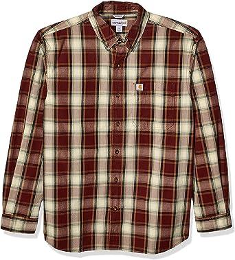 Carhartt Camisa de manga larga con botones a cuadros esenciales para hombre