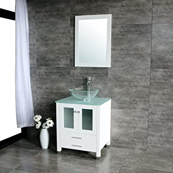 Walcut Inch White Bathroom Vanity Cabinet With Round Clear Glass - Round bathroom vanity cabinets