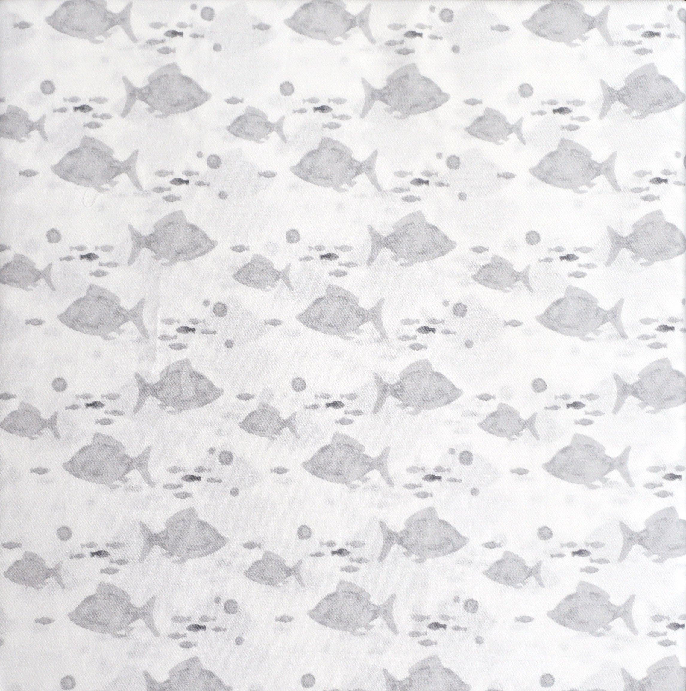 Sea Ocean Fish Summer Coastal Collection Bedding Cotton Queen Sheet Set Light Gray on White Fish Schools Swimming