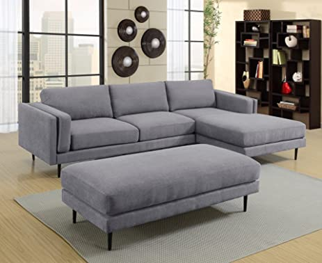 MYCO Furniture Colby Sectional Sofa, Grey