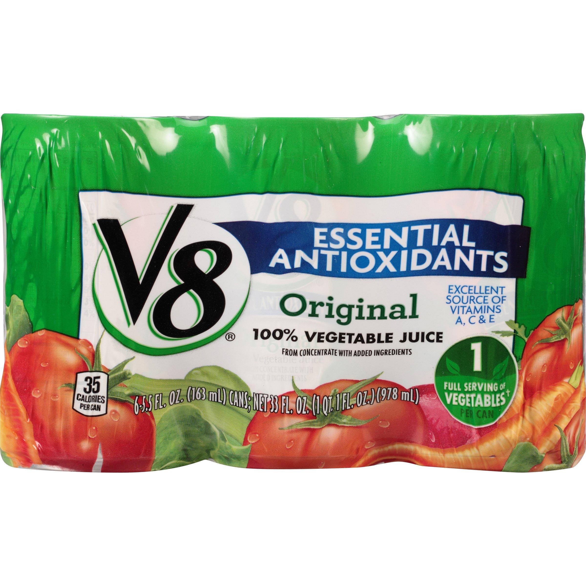 V8 Original Essential Antioxidants 100% Vegetable Juice, 5.5 oz. Can (8 packs of 6, Total of 48)