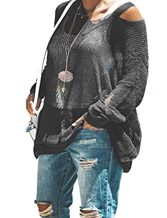 a6e740ac6ce Womens Lightweight Pullover Sweaters Plus Size Oversized Sheer Tops Knit  Fall Slouchy Sweater (1x