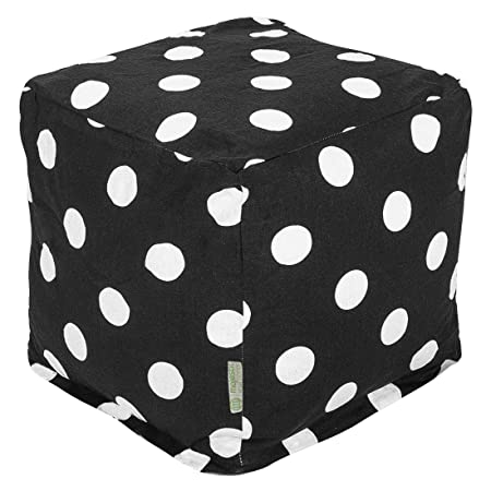 Majestic Home Goods 85907210134 Black Large Polka Dot Indoor Bean Bag Ottoman Pouf Cube L W x 17 H, 17 x 16 x 16 ,