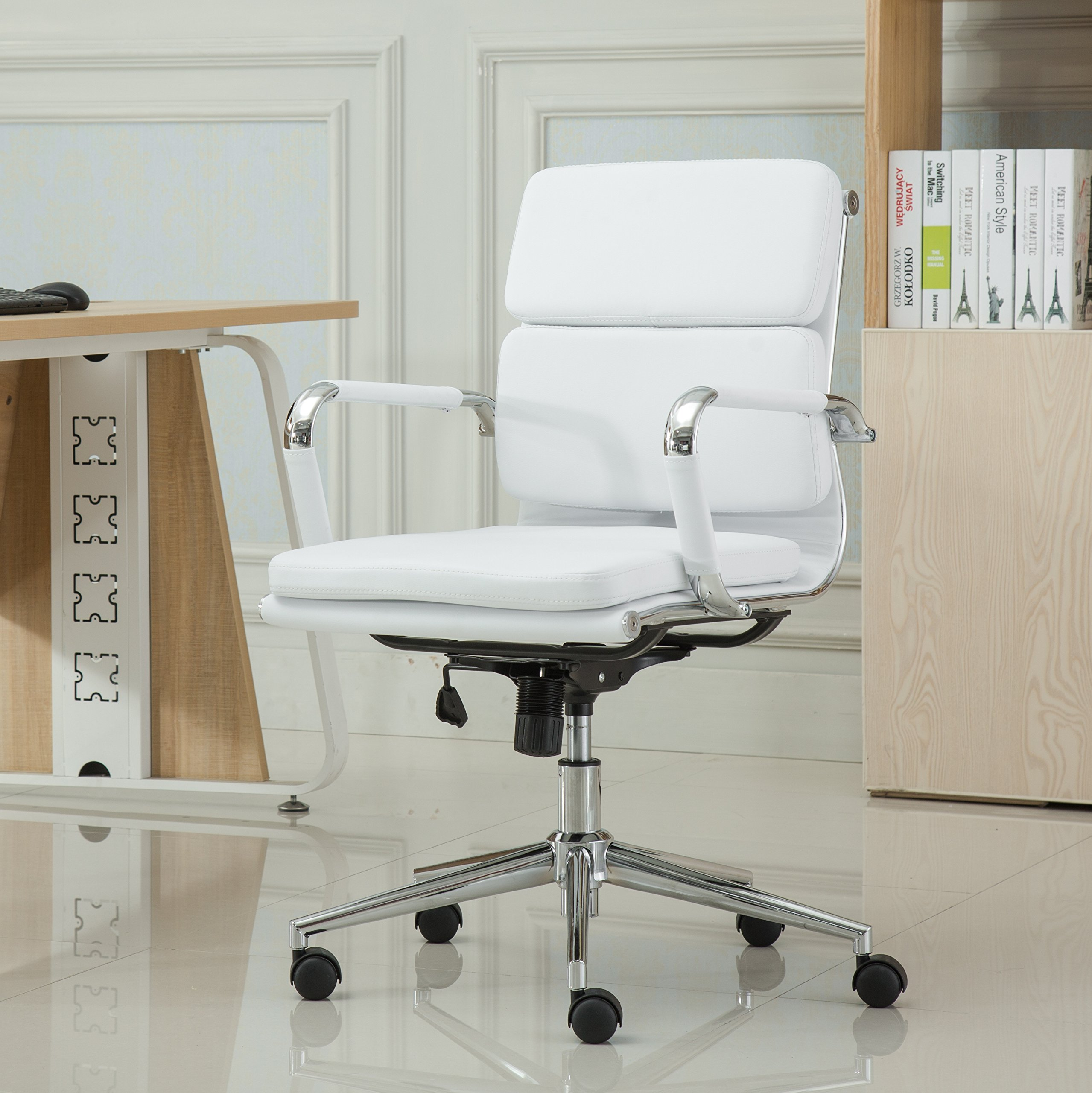 Roundhill Furniture Modica Chromel Contemporary Low Back Office Chair, White