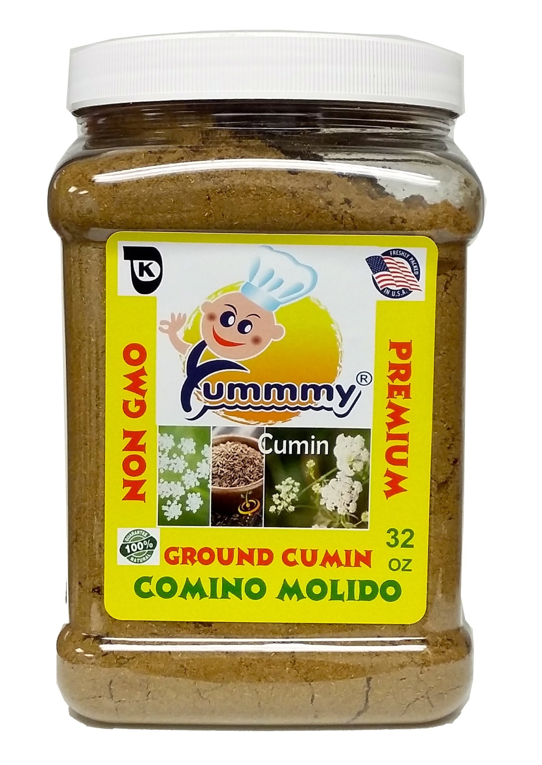 Yummmy Cumin, Ground Cumin 32 oz, Kosher certified, BPA free container