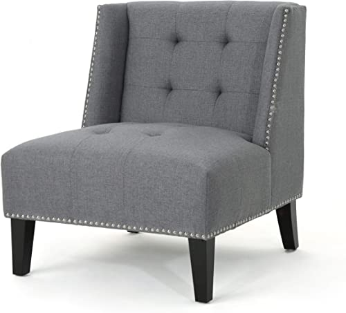 Christopher Knight Home Takara Tufted Wingback Fabric Slipper Chair