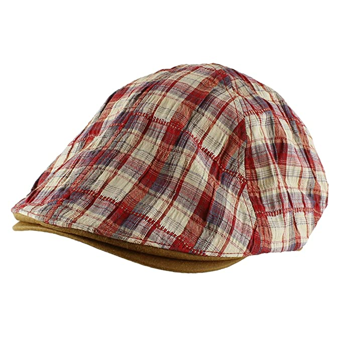 c243fc6faa9 Morehats Plaid Cotton Newsboy Cap With Faux Leather Bill Golf Hat - Red at Amazon  Men s Clothing store