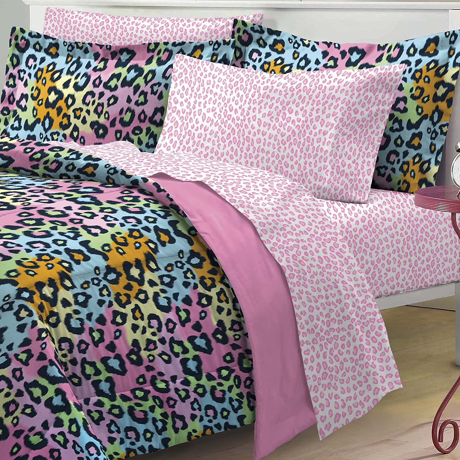 Pink leopard print bedding - Amazon Com My Room Neon Leopard Ultra Soft Microfiber Girls Comforter Set Multi Colored Twin Twin X Large Home Kitchen