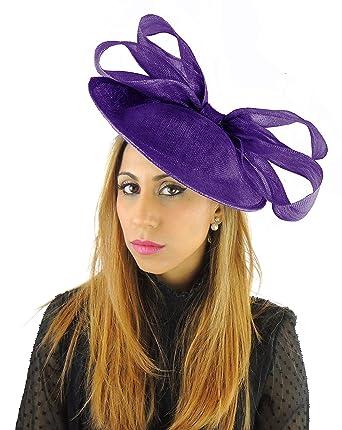 47ca1c3aa77c1 Gorgeous Kelaa Aubergine Ascot Derby Fascinator Hat - with Headband ...