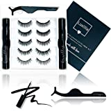 Magnetic Eyelashes with Eyeliner Kit - 8D Lashes Natural Look, Cruelty-Free, 5 Magnets - Waterproof Liquid Eye Liner for Magnet Lash Set, Reusable, No Glue,Tweezers