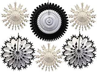 product image for Hanging Large Tissue Snowflake Decorations, Set of 6, Black & White (15-21 inches)