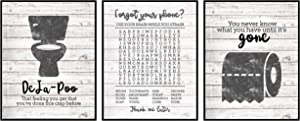 Bathroom Themed Decor Art Print Wall Art Funny Gift Sets Typography Rustic Unframed Pictures Signs Rules (Word Search)