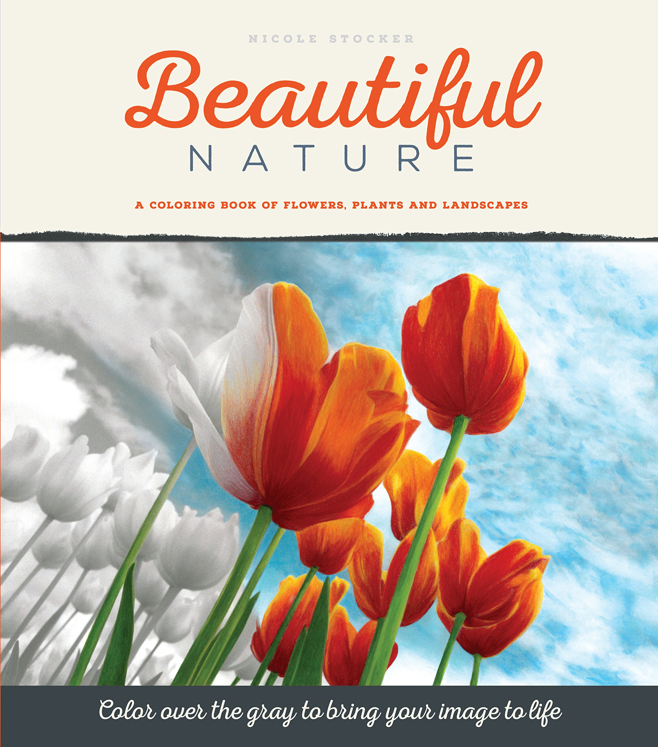 Beautiful Nature: A Grayscale Adult Coloring Book of Flowers, Plants ...
