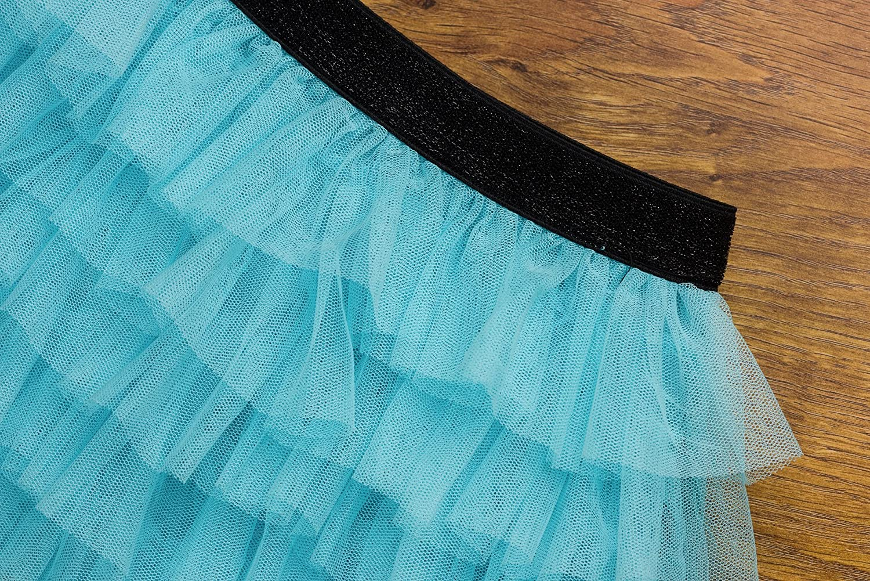 ISPED Girls Tutu Skirt Fluffy Ballet Dance Princess Layered Ruffled Sequins Tutu Gymnastics for Toddler//Little Girl YM16 Lightblue Size 6Y