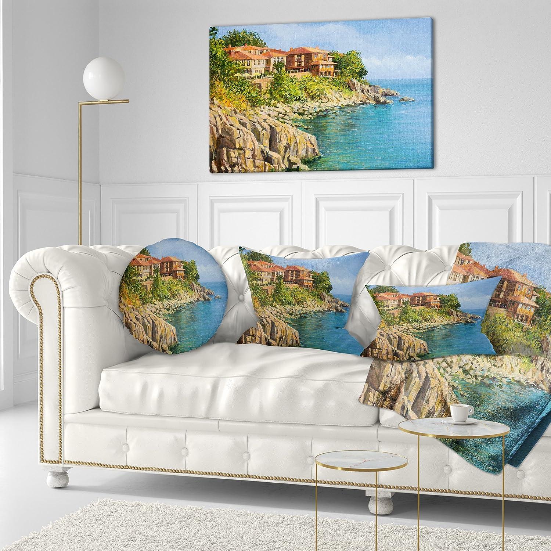Sofa Throw Pillow 16 Designart CU7838-16-16-C Blue Summer Sea Landscape Painting Round Cushion Cover for Living Room